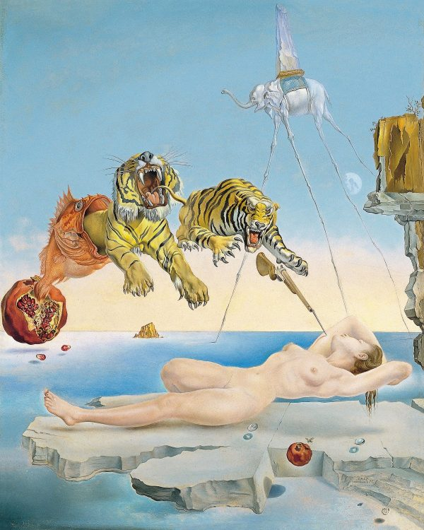 Dali Dream caused by the Flight of a Bee around a Pomegranate a Second before Wakening up