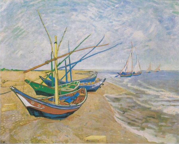 tablou canvas barci pescuit van gogh