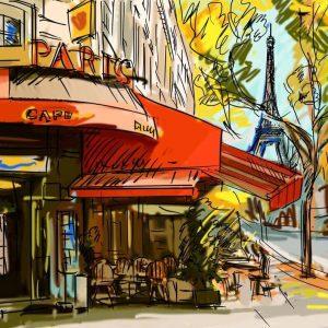 Tablou living Cafenea pariziana