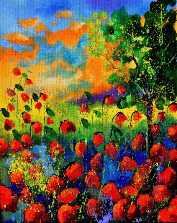 Tablou living Gradina cu flori rosii