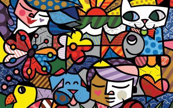 Tablou living arta abstracta viata colorata