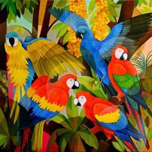 Tablou living arta contemporana Macani in padure