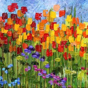 tablou canvas pentru living gradina de vara