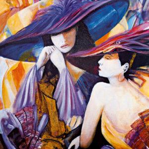 Tablou canvas living Doamne cu palarie