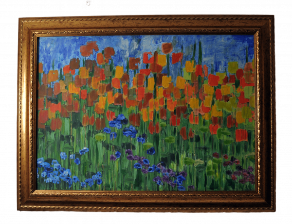 tablou camp cu flori rama aurie