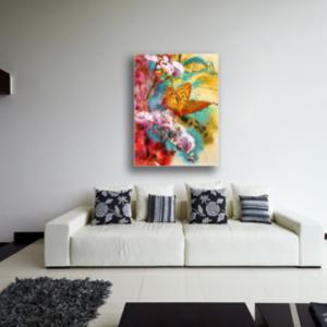 Tablou abstract flori si fluturi, Printly