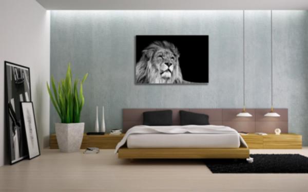 Tablou black and white lion