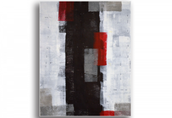 Tablou red and grey abstract art, Printly