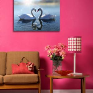 Tablou swans in love